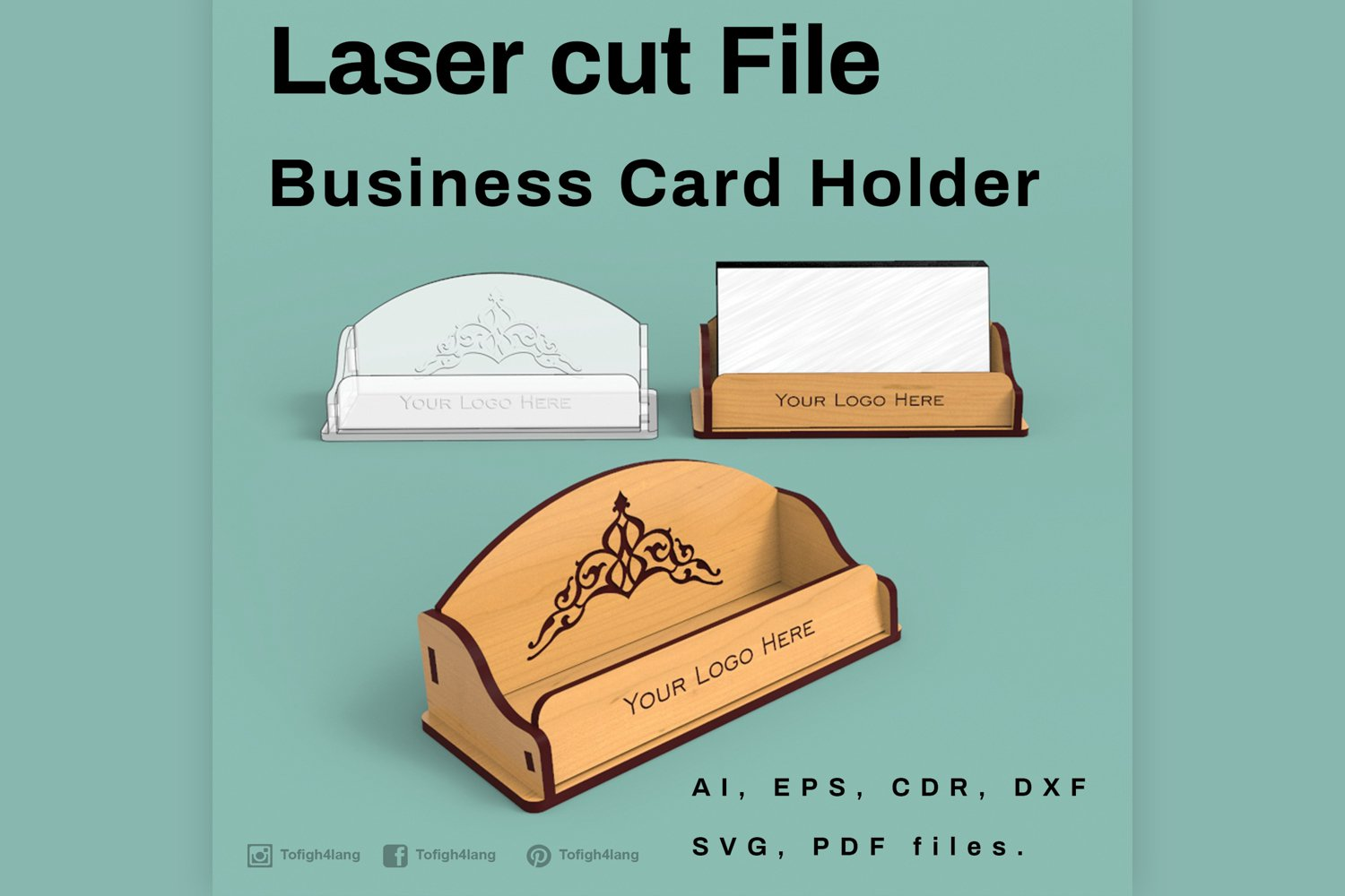 Business Card Holder - Laser cutting File (21)  Cut Files Throughout Card Stand Template
