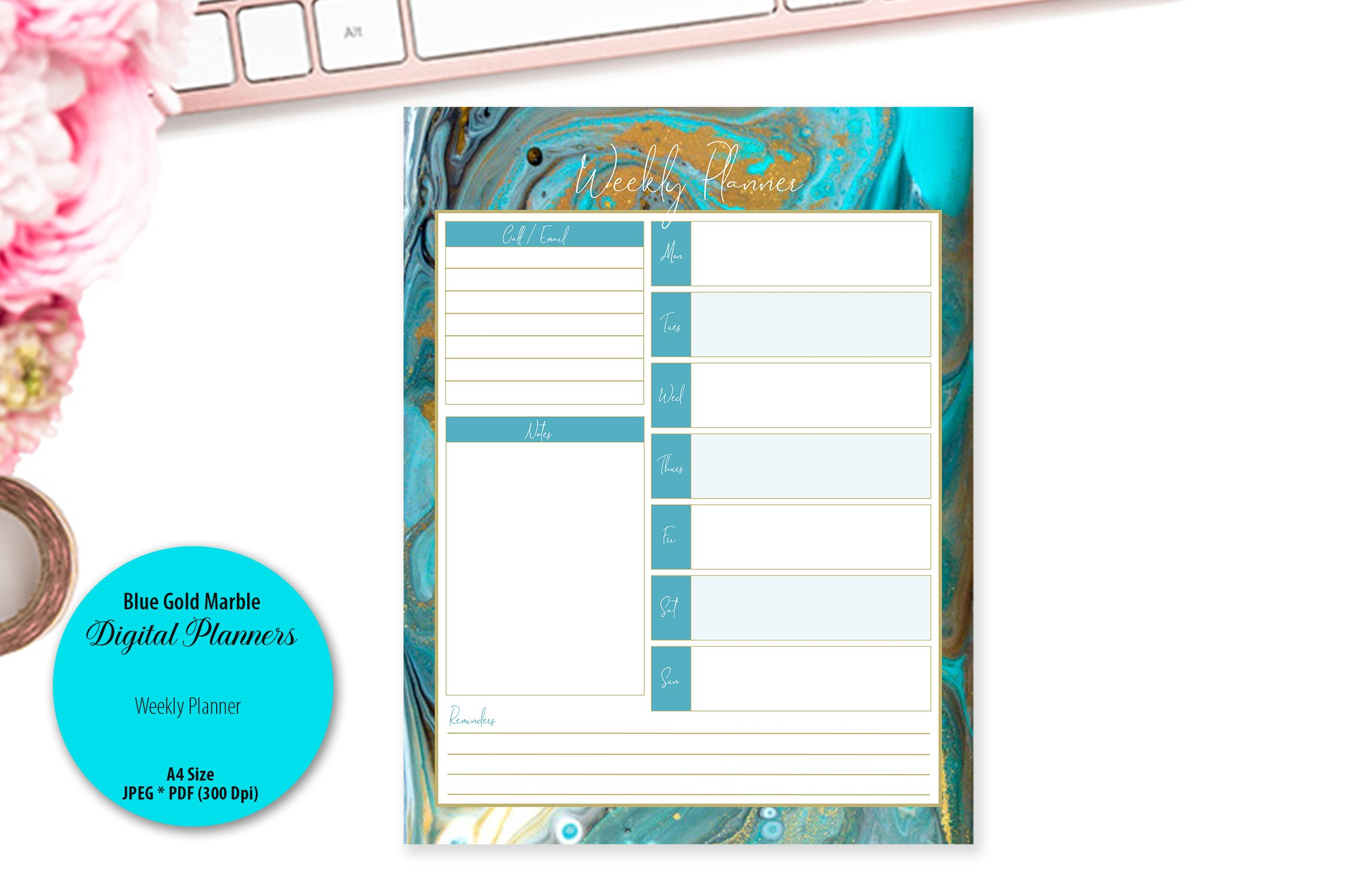 Blue Gold Marble Digital Planner example image 3