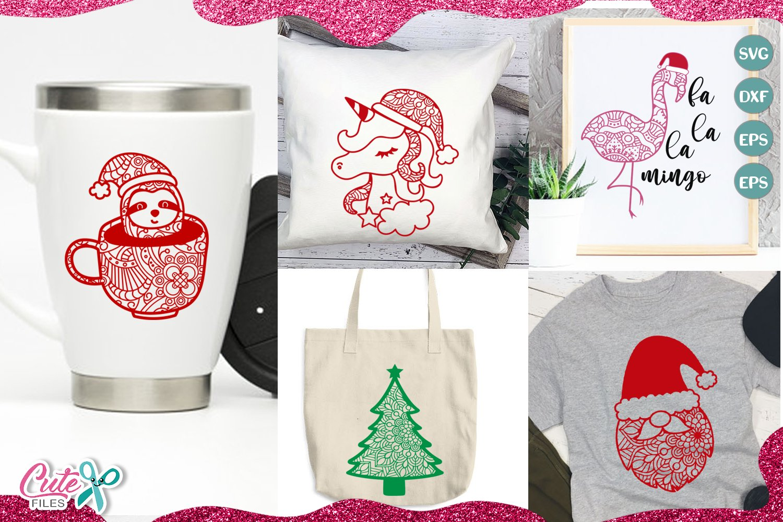 Christmas Mandala mini bundle SVG for crafters example image 2