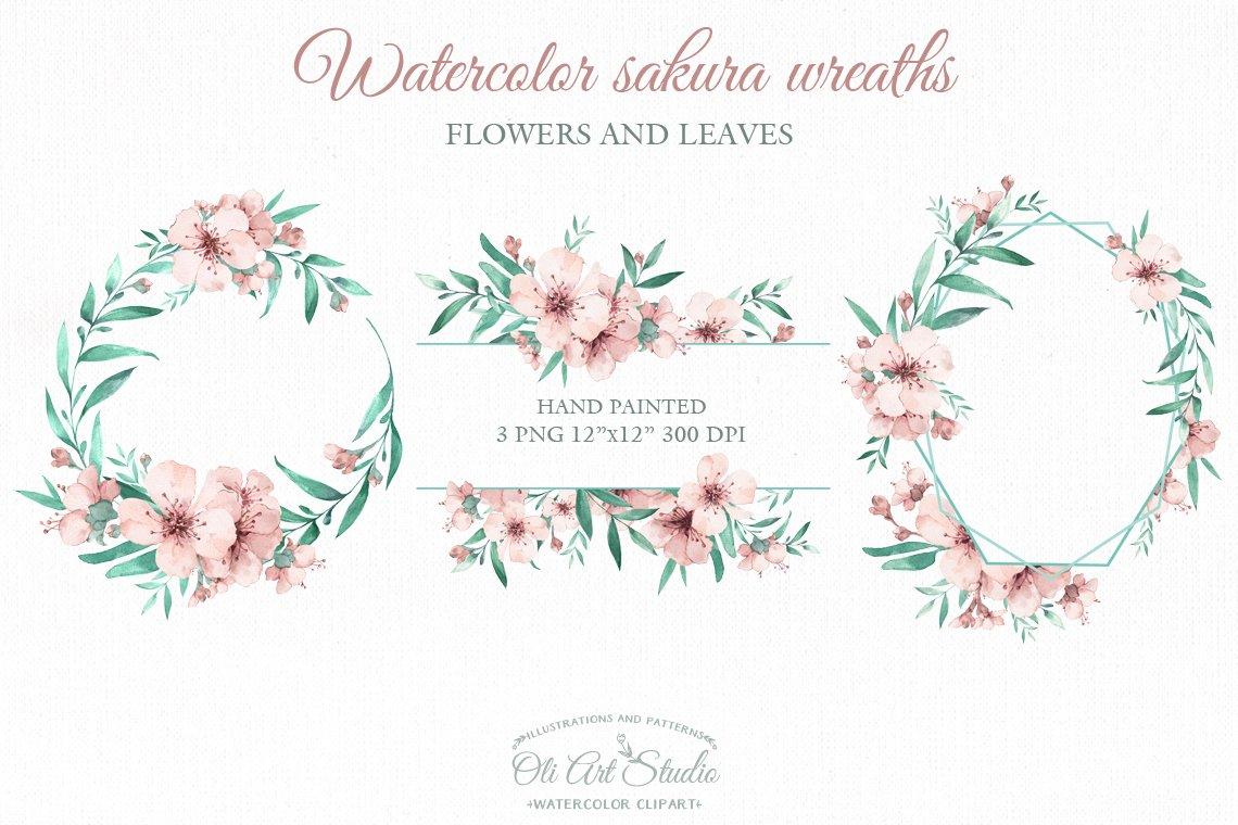 Watercolor sakura wreaths example image 6