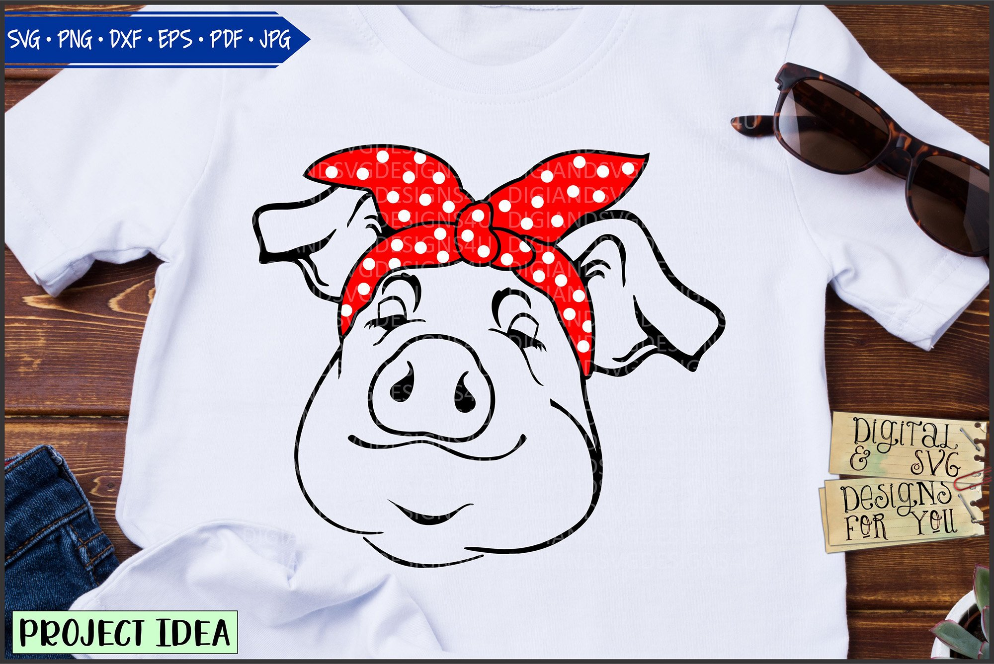 Happy pigs with bandanas example image 2