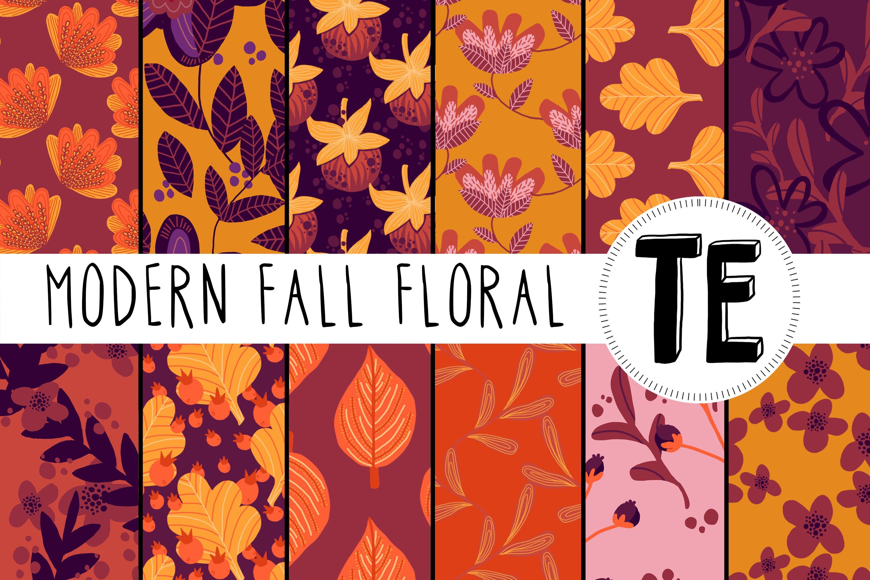 Fall Floral Digital Paper Pack 12 Autumn Seamless Patterns 785745 Patterns Design Bundles