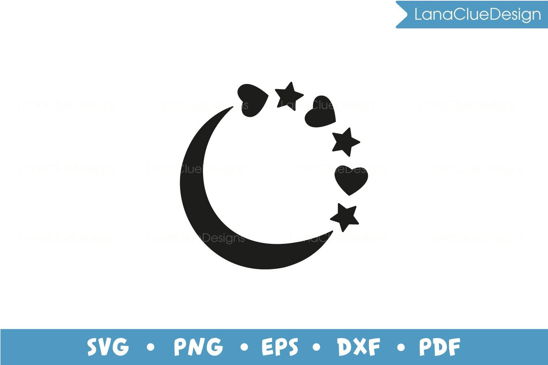 5 Star Circle Frames SVG Bundle, Half Moon with Hearts example image 3