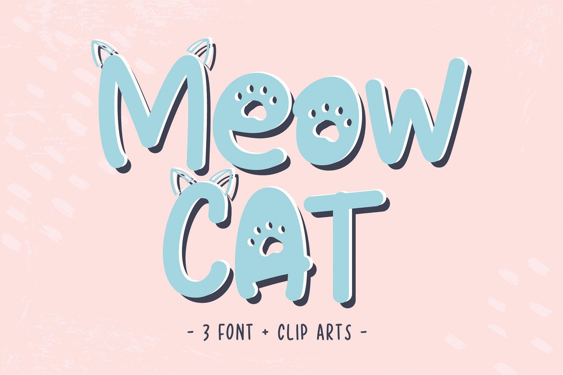 Cat Meow - 3 Font Plus Bonus Clip Arts example image 1