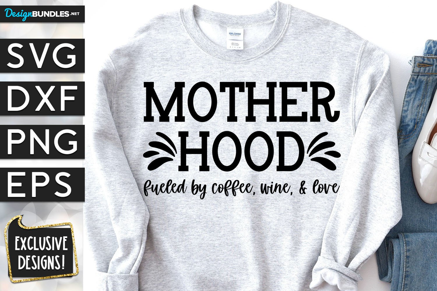 Motherhood Fueled By Love SVG DXF PNG EPS example image 1