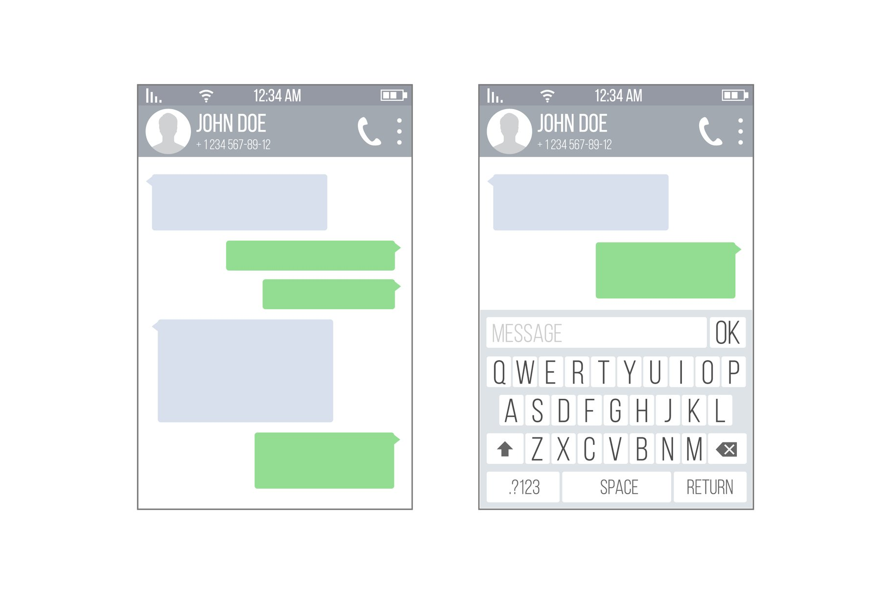 Mobile UI Kit Messenger Vector. Chat App Design Template. example image 1