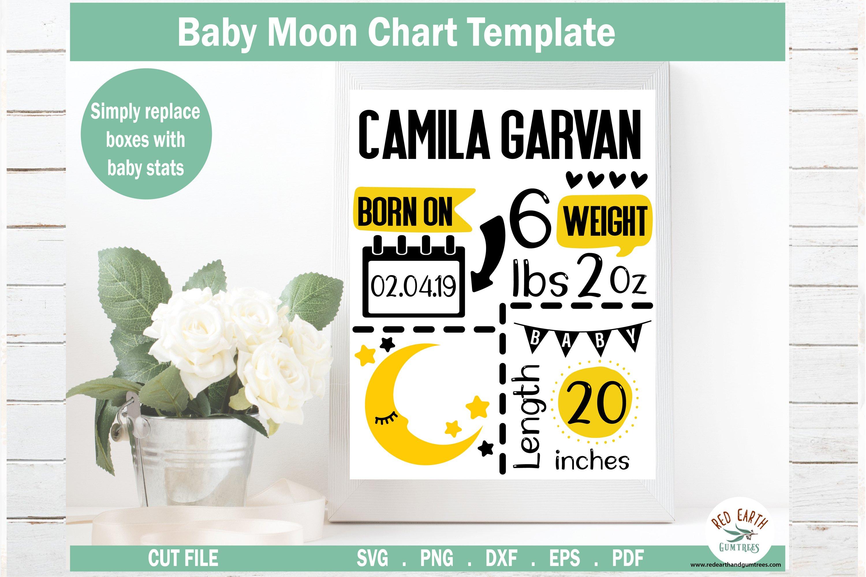 Moon Baby Announcement Chart Template Baby Stats Svg Pdf Dxf 572571 Cut Files Design Bundles