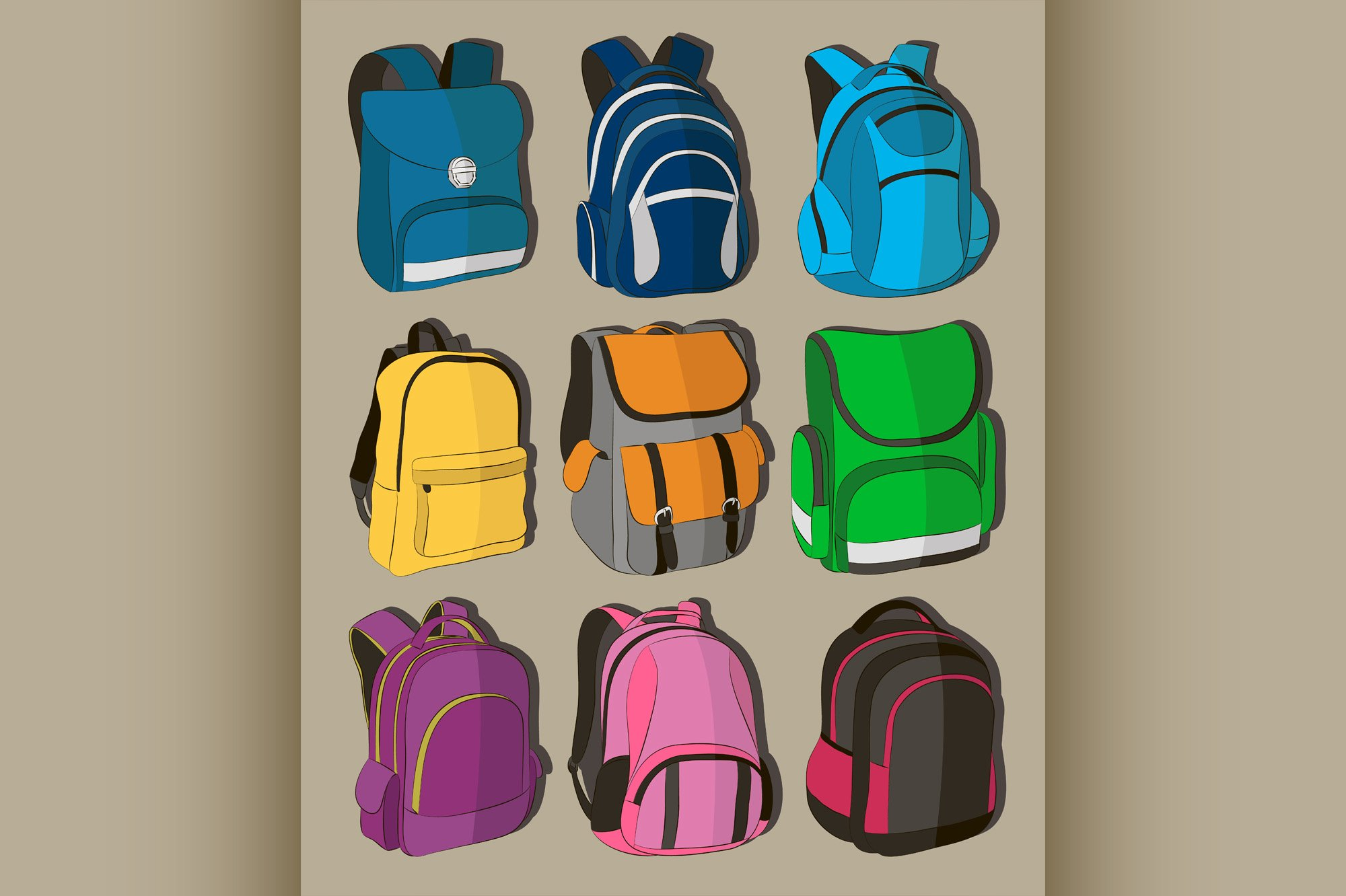 Colored school backpacks set example image 1