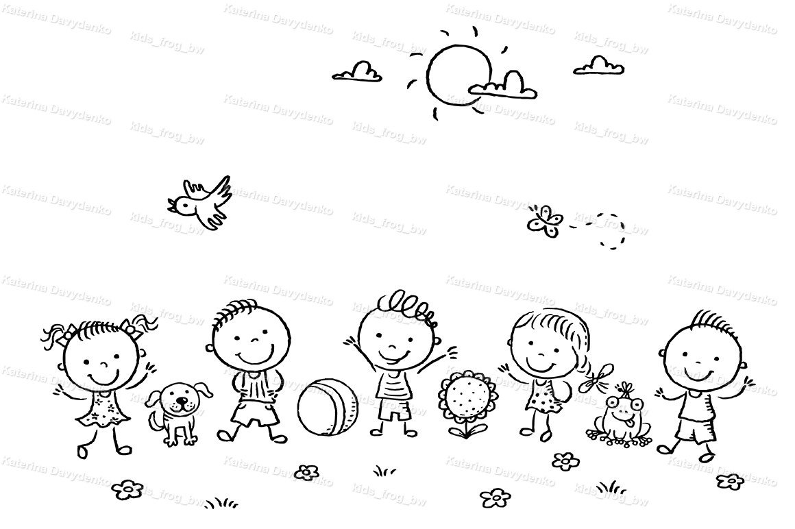 Happy cartoon kids outdoors on a green meadow example image 2
