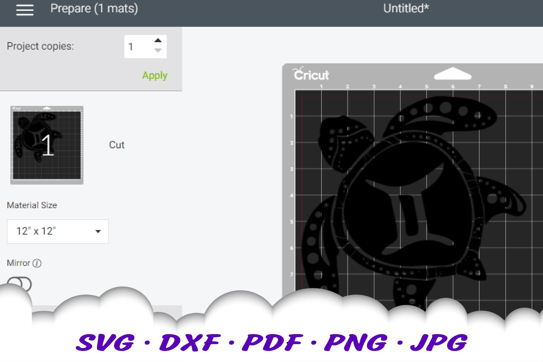 Gemini Zodiac Sign Sea Turtle SVG DXF Cut Files Bundle example image 2