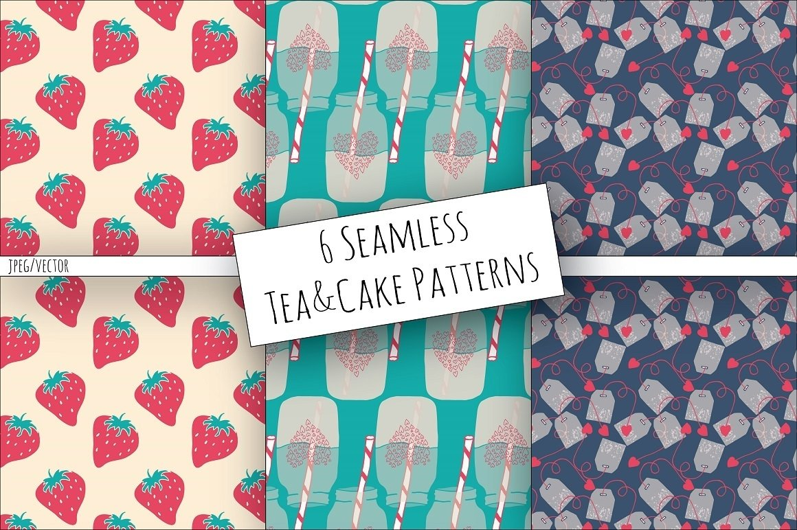Tea & Cake Clipart and Seamless Pattern Collection - Tea Party Digital example image 5