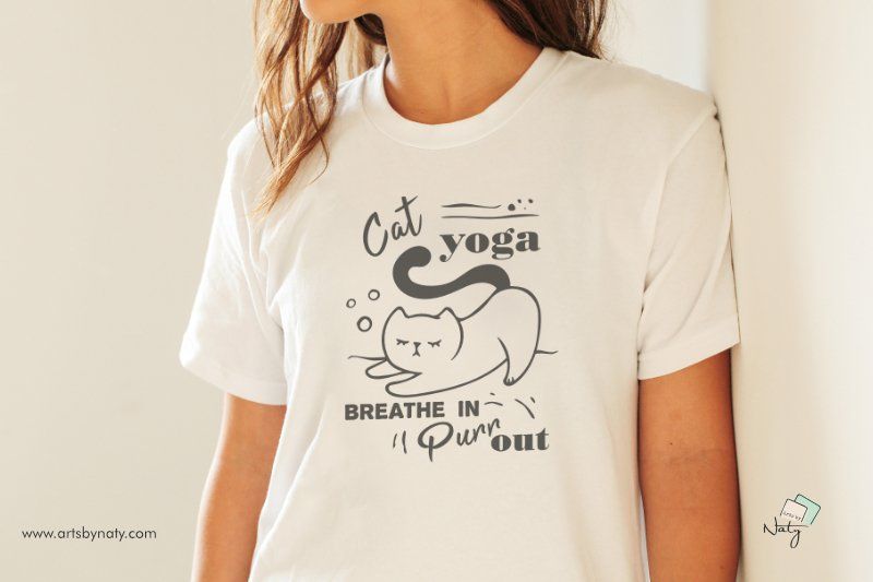 Cat yoga. Breathe in, Purr out. Funny SVG Illustration. example image 3