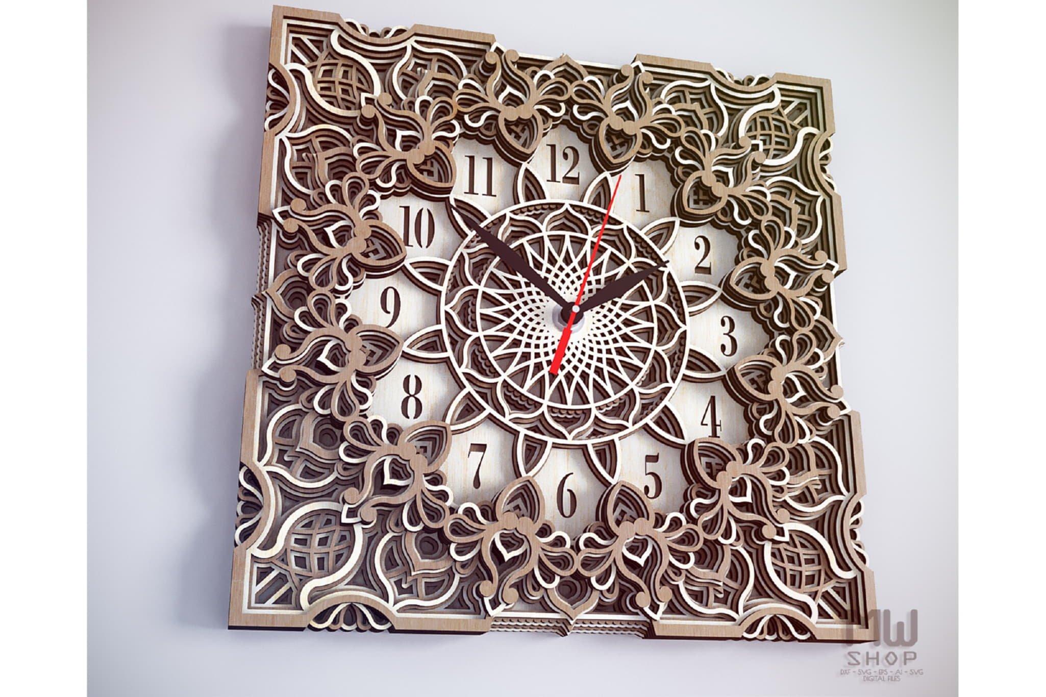 C13 - Mandala Clock DXF for Laser cut, Sacred Clock SVG example image 3
