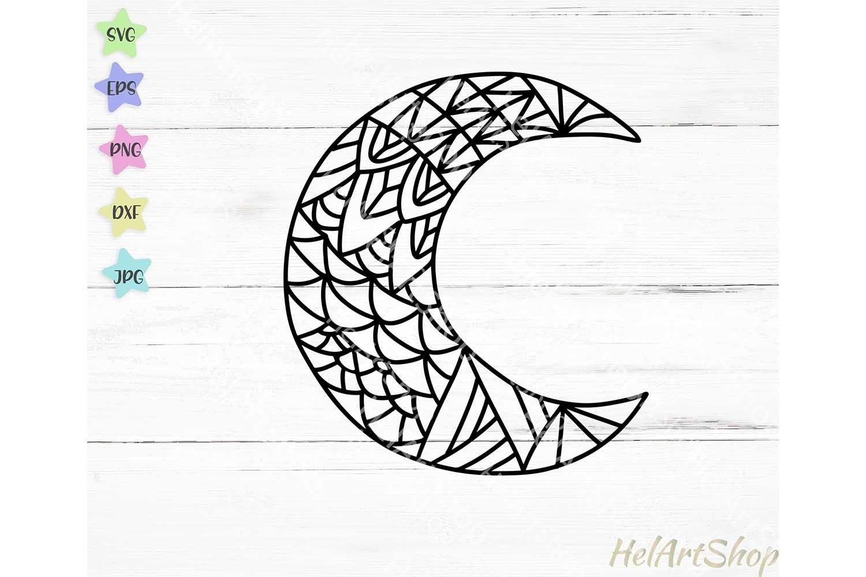 Moon svg half moon svg crescent moon svg Moon paper cut Floral moon svg Moon flowers svg luna svg moon Cricut Decal stencil vector
