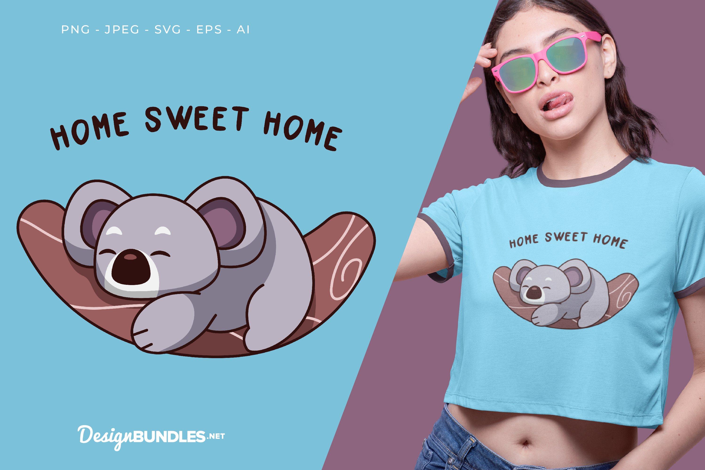 Home Sweet Home koala Vector Illustration For T-Shirt Design example image 1