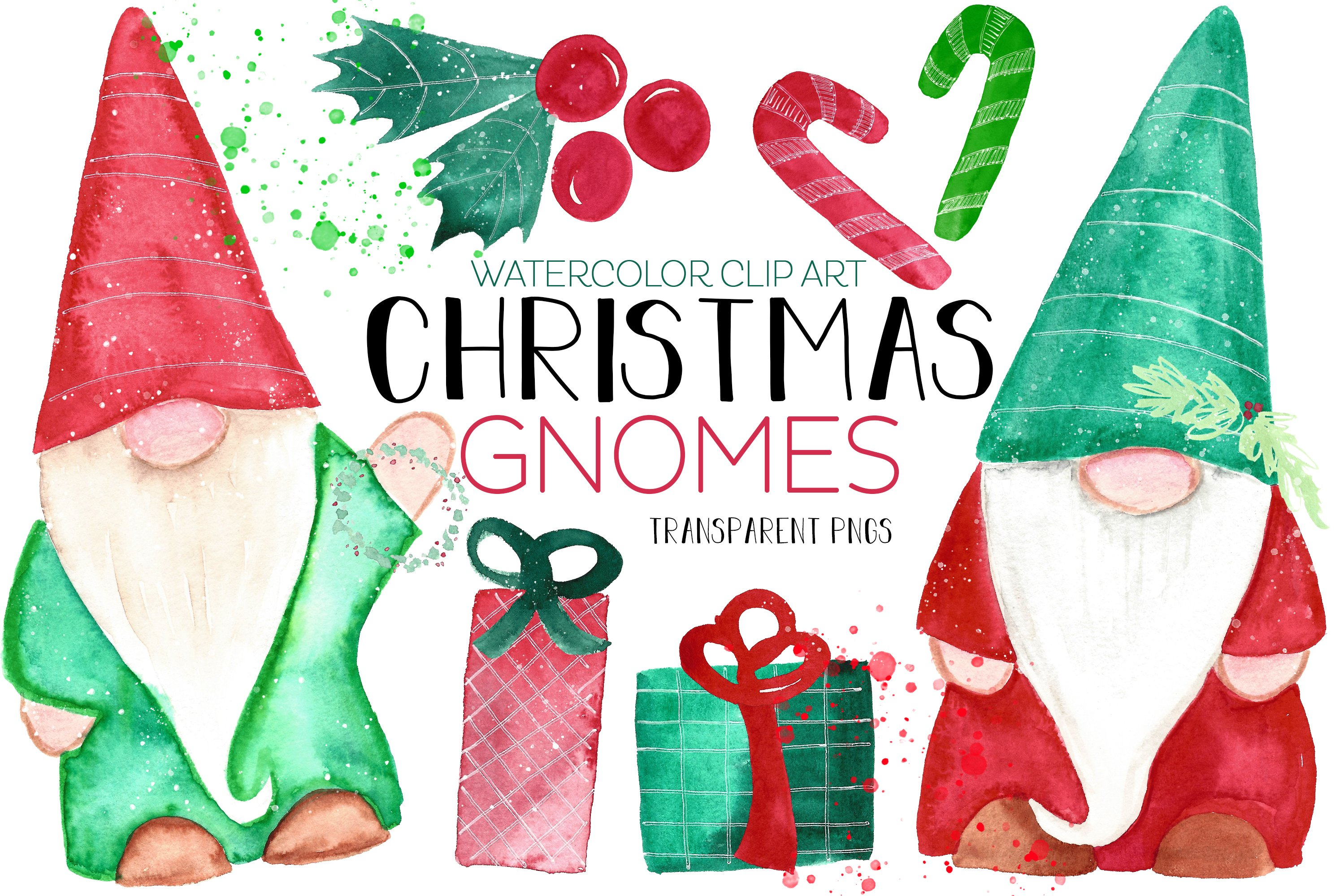 Christmas Gnomes & Holiday Clip Art Set Candy Cane Presents example image 1