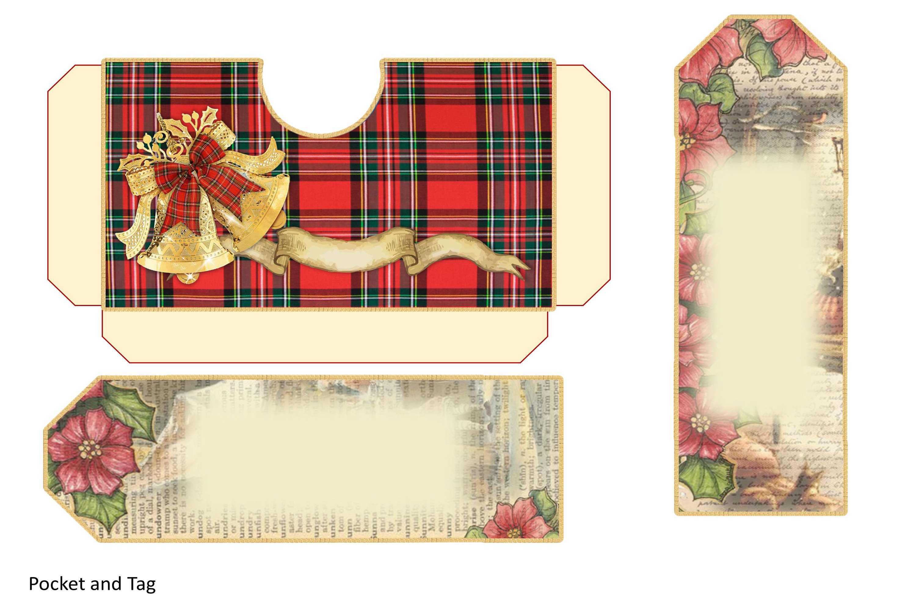 Victorian Christmas Backgrounds and Clipart JPEG PNG PDF example image 8