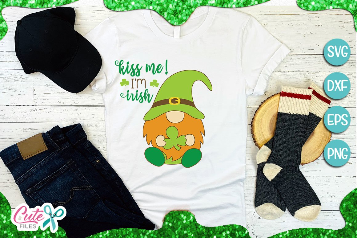 Kiss Me I Am Irish Svg St Patricks Gnome Cut Files 402877 Cut Files Design Bundles