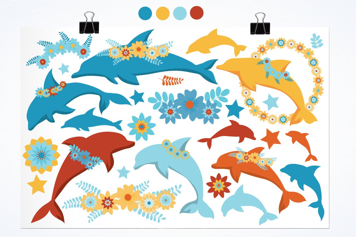 Floral Dolphins graphics and illustrations example image 2