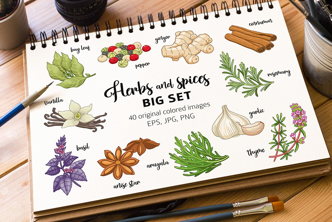 40 colored spices and herbs example image 1
