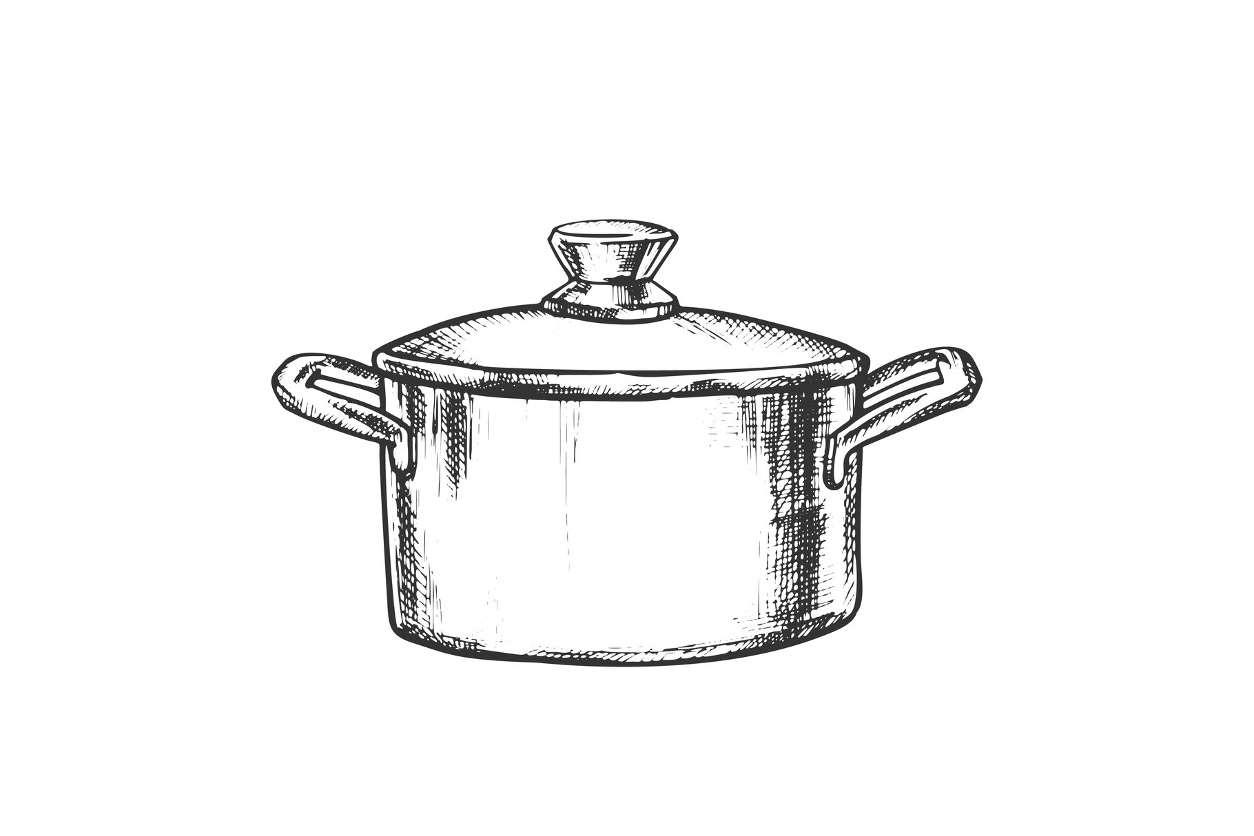 Pot Stainless Cooking Kitchenware Vintage Vector example image 1