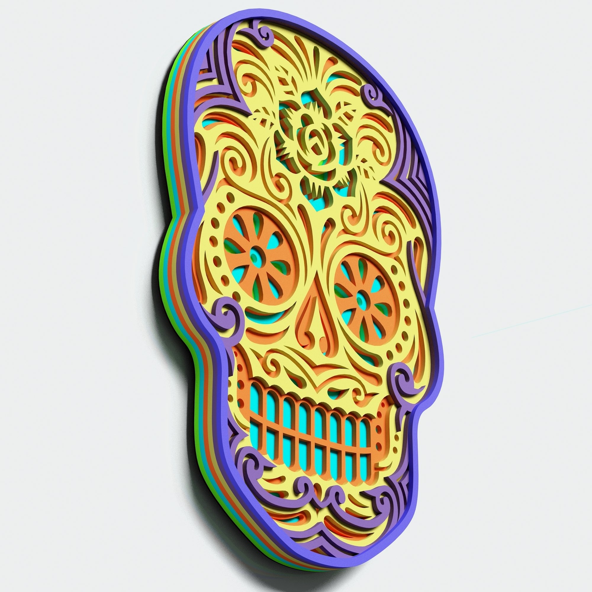 Multilayer Sugar Skull Mandala - S2, for cutting machines example image 2
