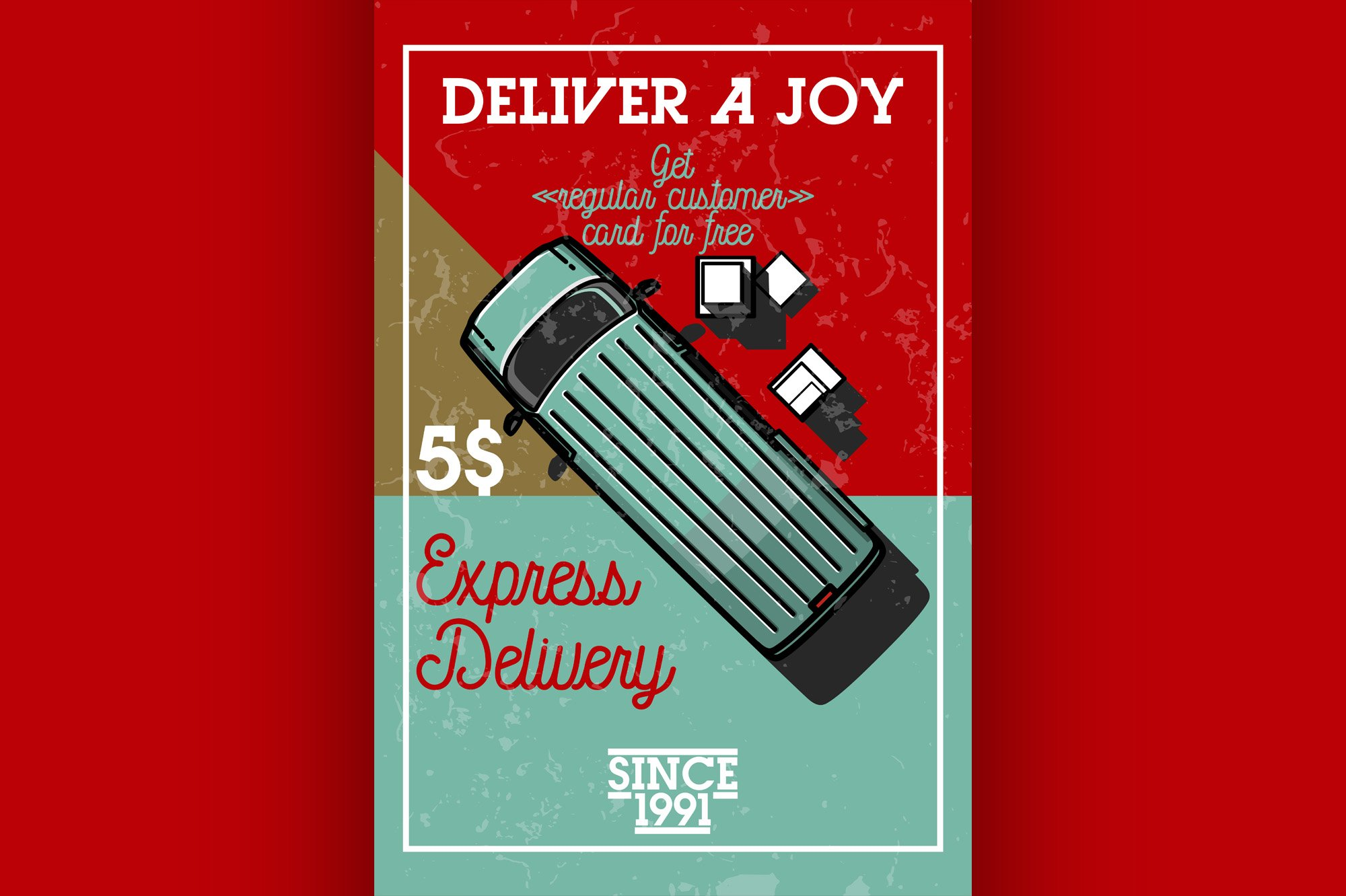 Color vintage express delivery banner example image 1