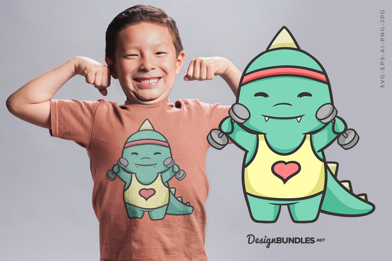 Funny Dinosaur Gym T-Shirt Design example image 1