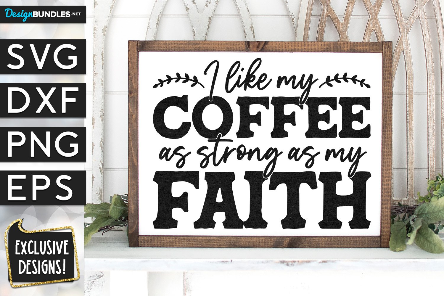 Coffee As Strong As My Faith SVG DXF PNG EPS example image 1