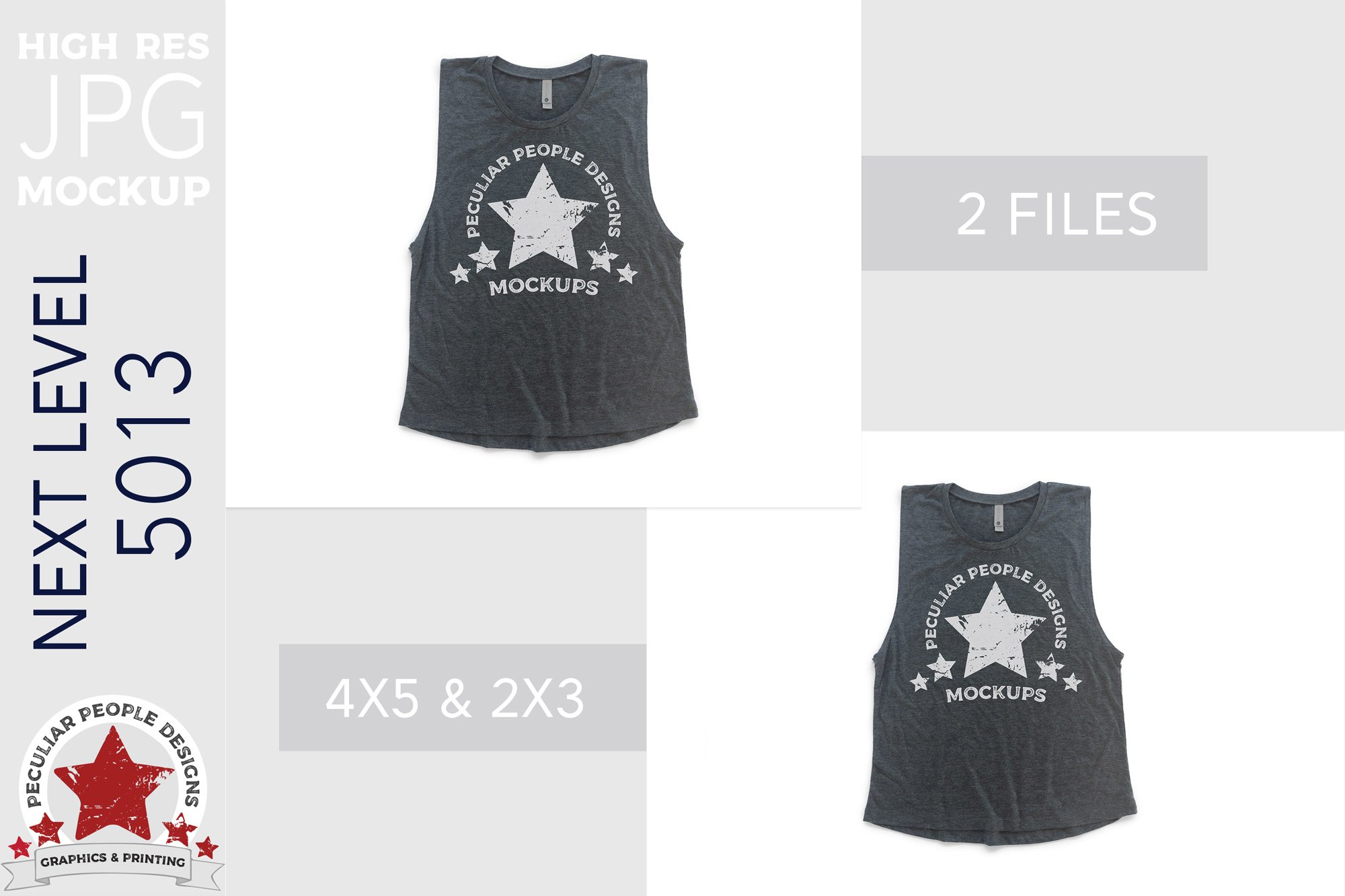 Muscle Tank Top Women's Mock Up JPG Next Level 5013 Charcoal example image 2