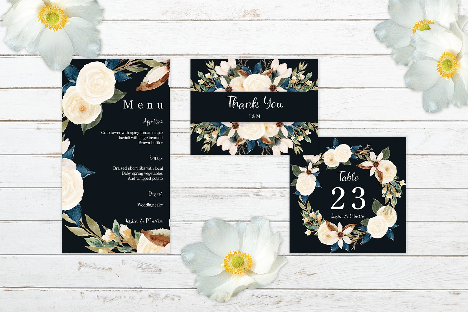 Romantic Navy And White Floral Wedding Invitation Set example image 3