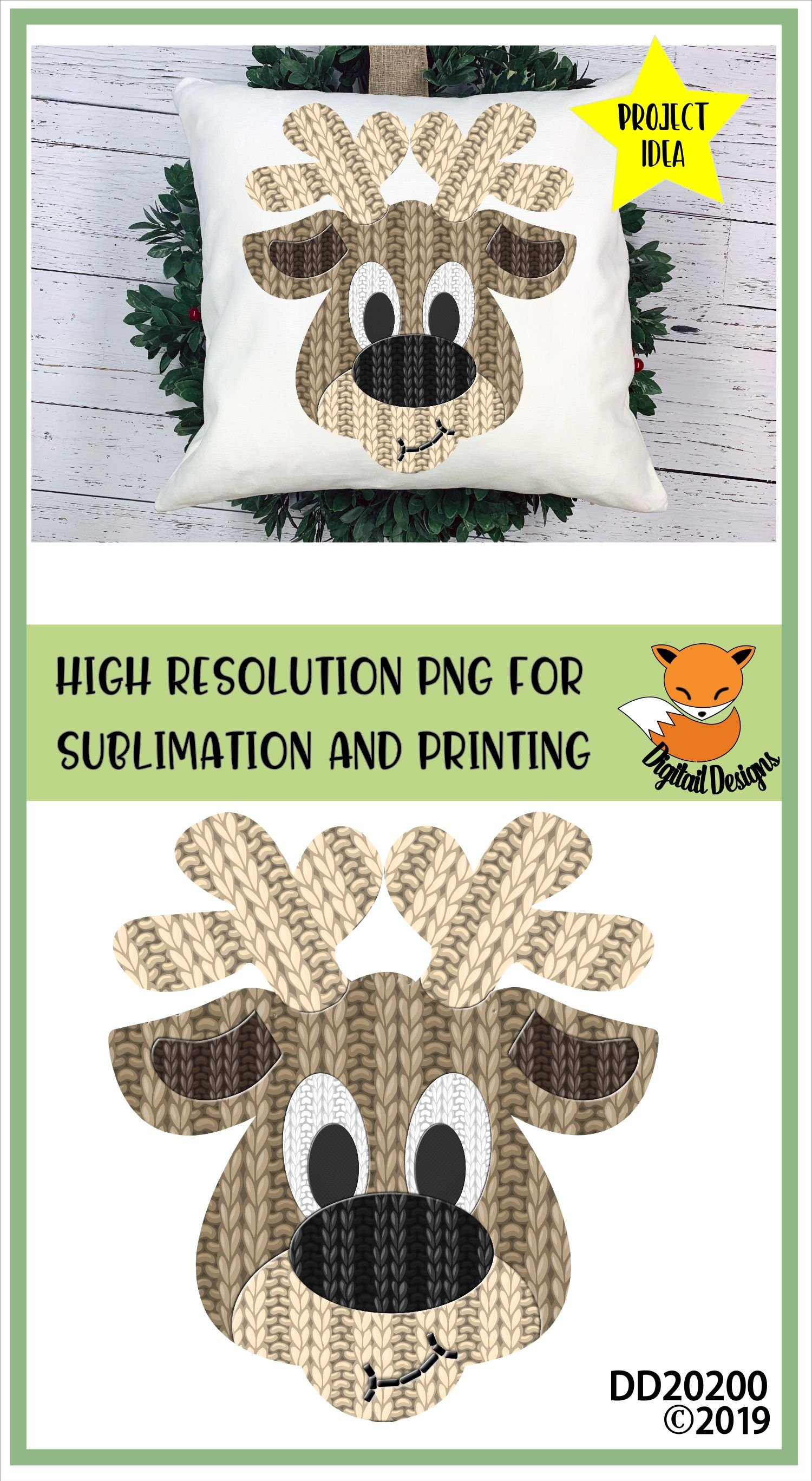 knitted Effect Reindeer Head PNG for Sublimation example image 2