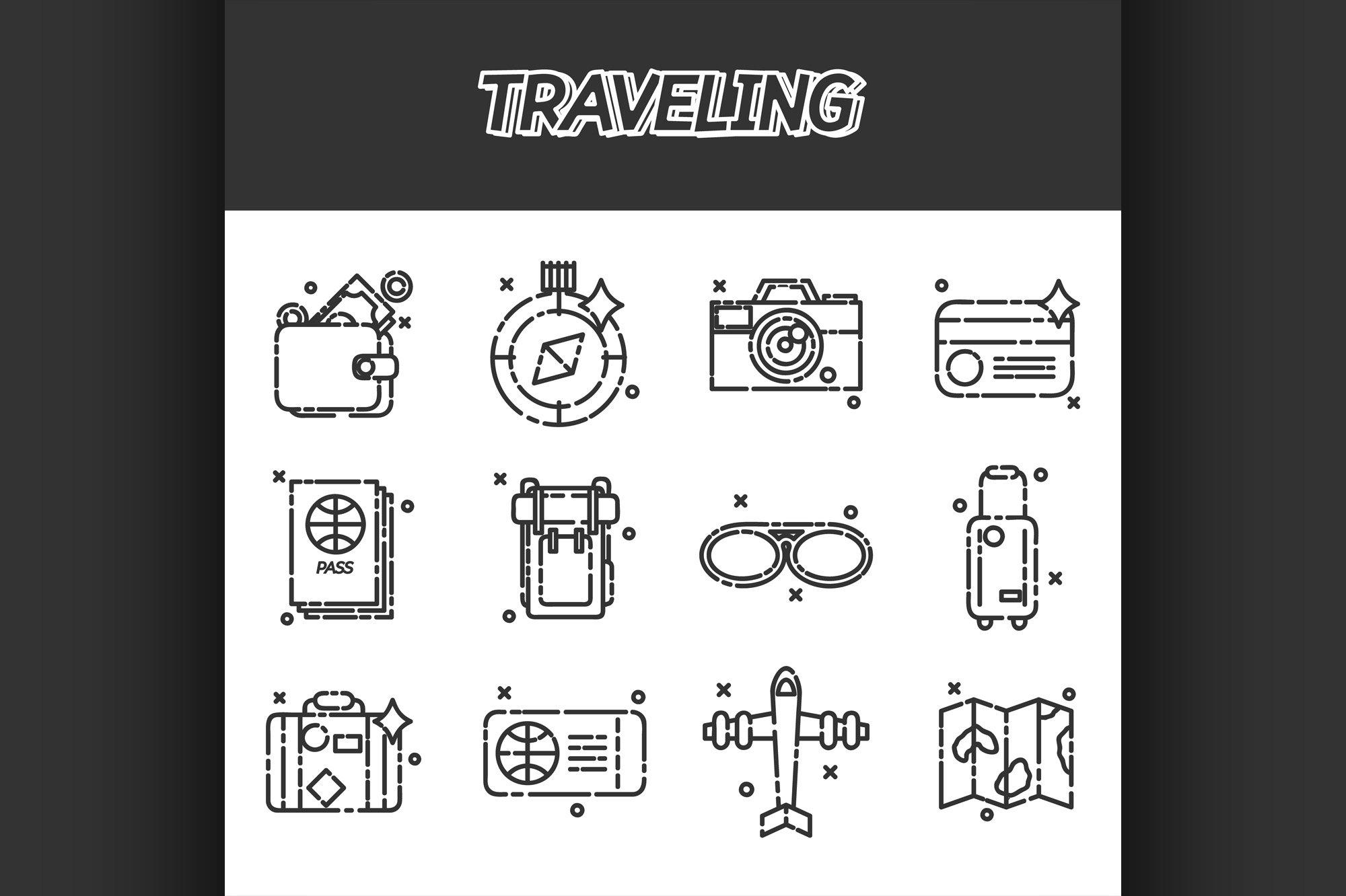 Travel Icons Set flat design example image 1