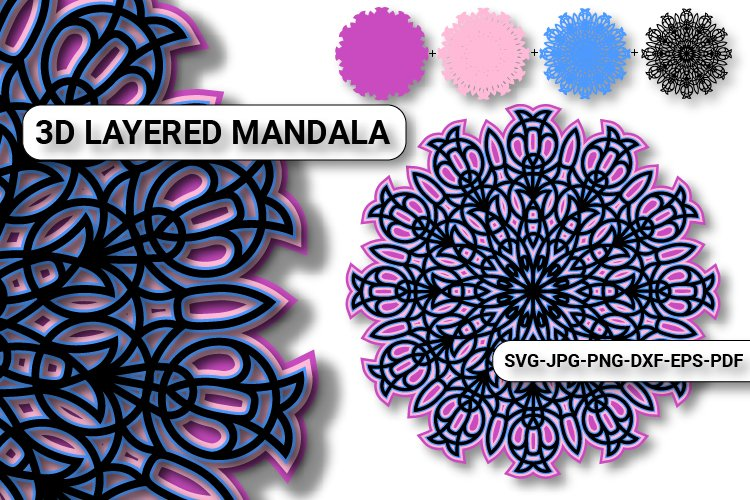 Download 3d Mandala Svg Cut File Multilayer Mandala 3d Svg File 979847 Cut Files Design Bundles