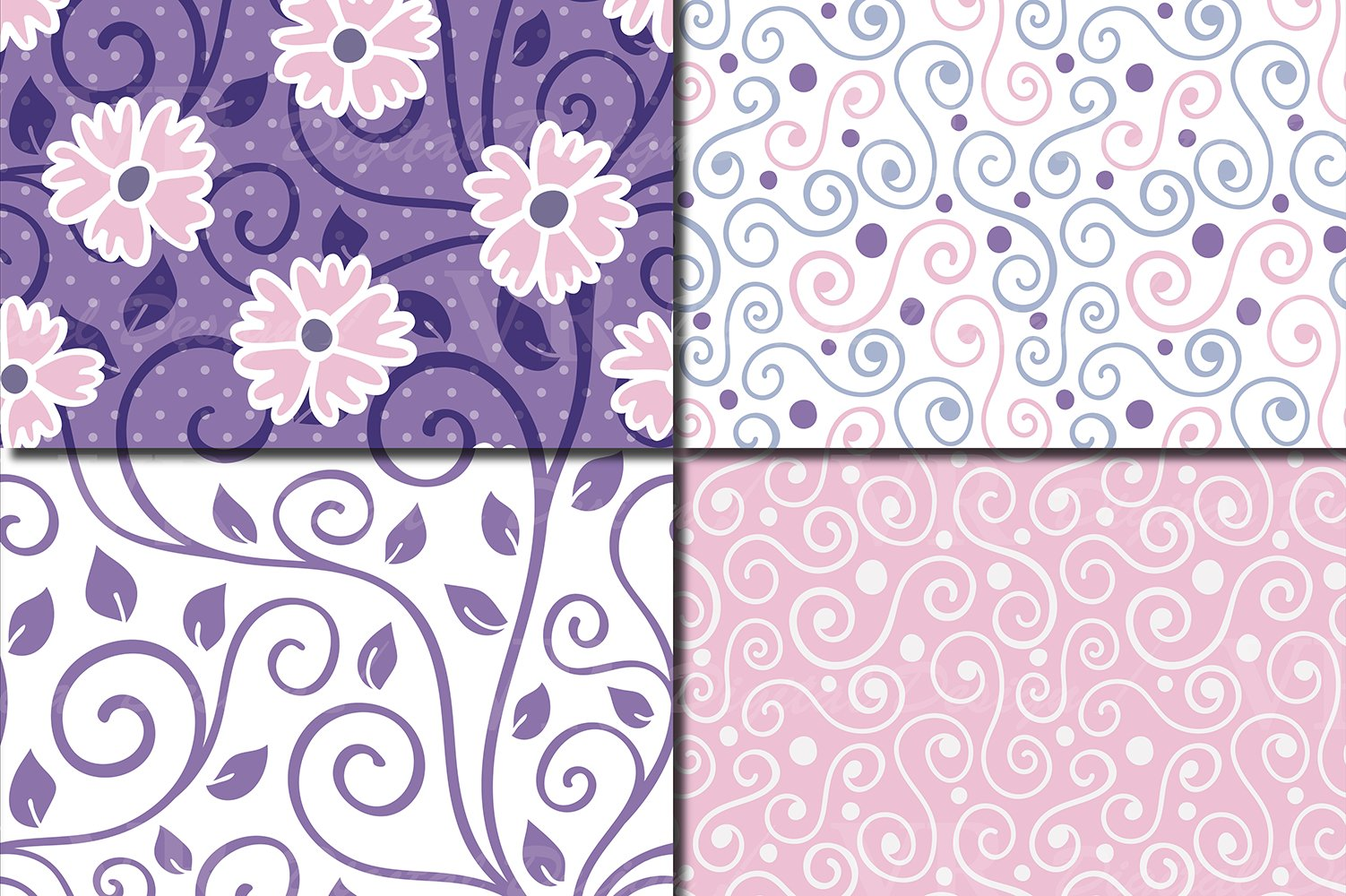 Floral swirls blue, pink, purple seamless digital paper example image 4