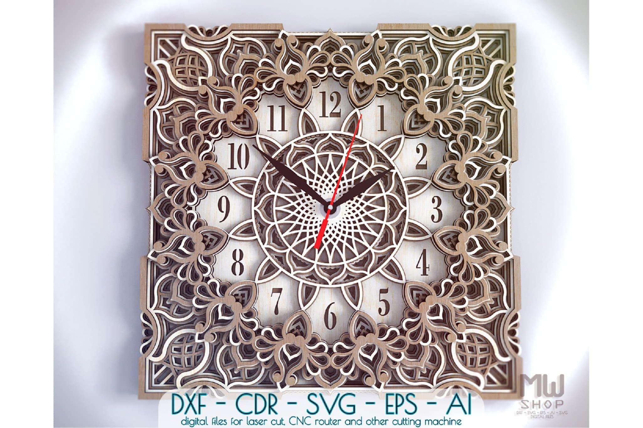 C13 - Mandala Clock DXF for Laser cut, Sacred Clock SVG example image 1