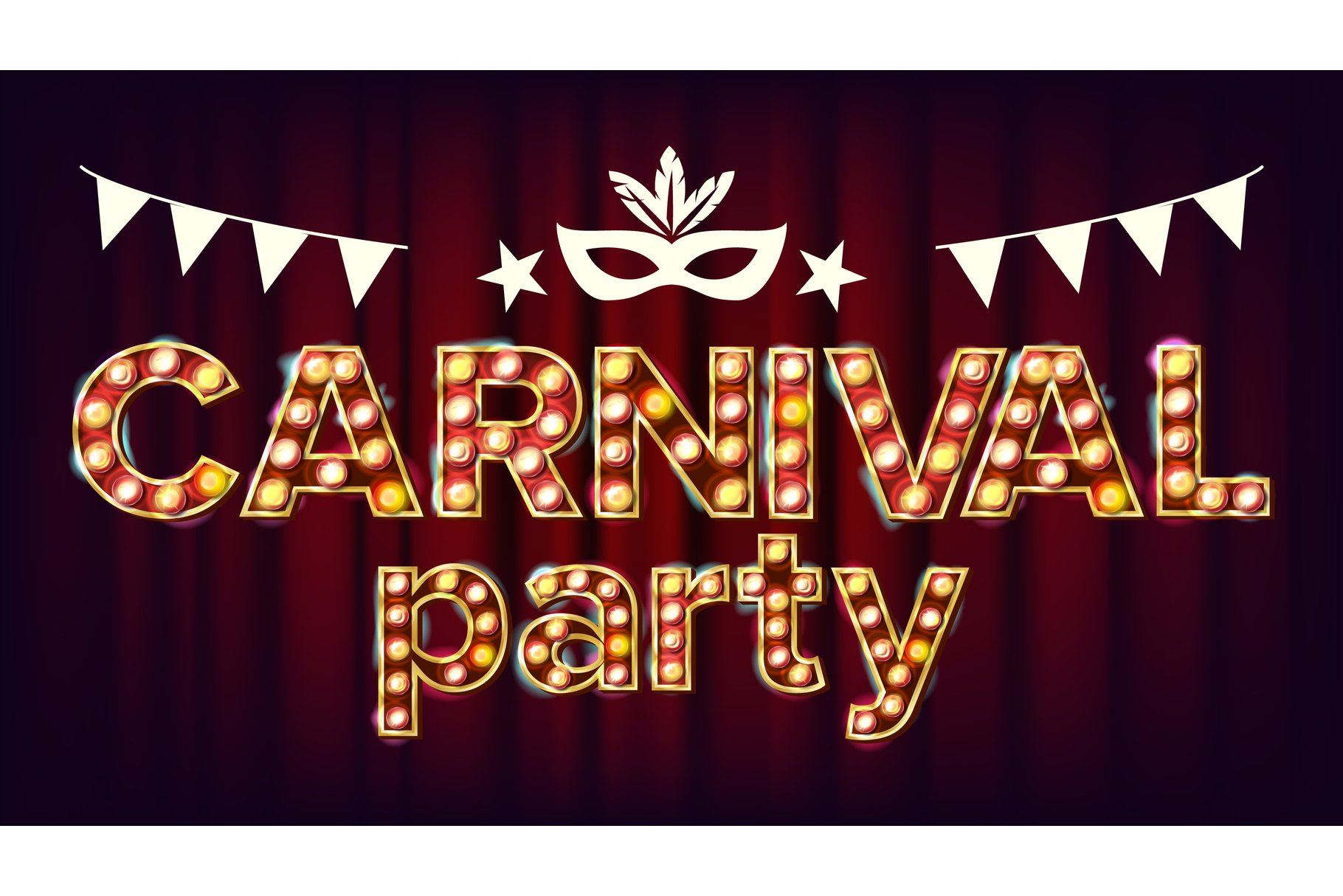 Carnival Party Poster Vector. Carnival 3D Glowing Element. example image 1