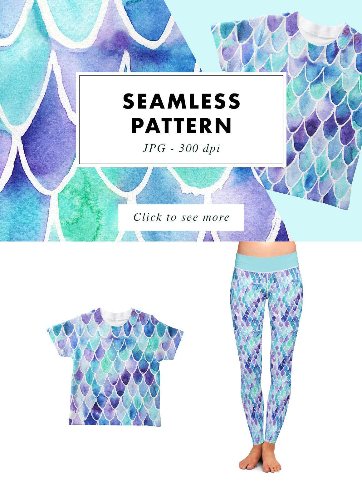Mermaid Scales | Seamless Watercolor Print Pattern example image 3