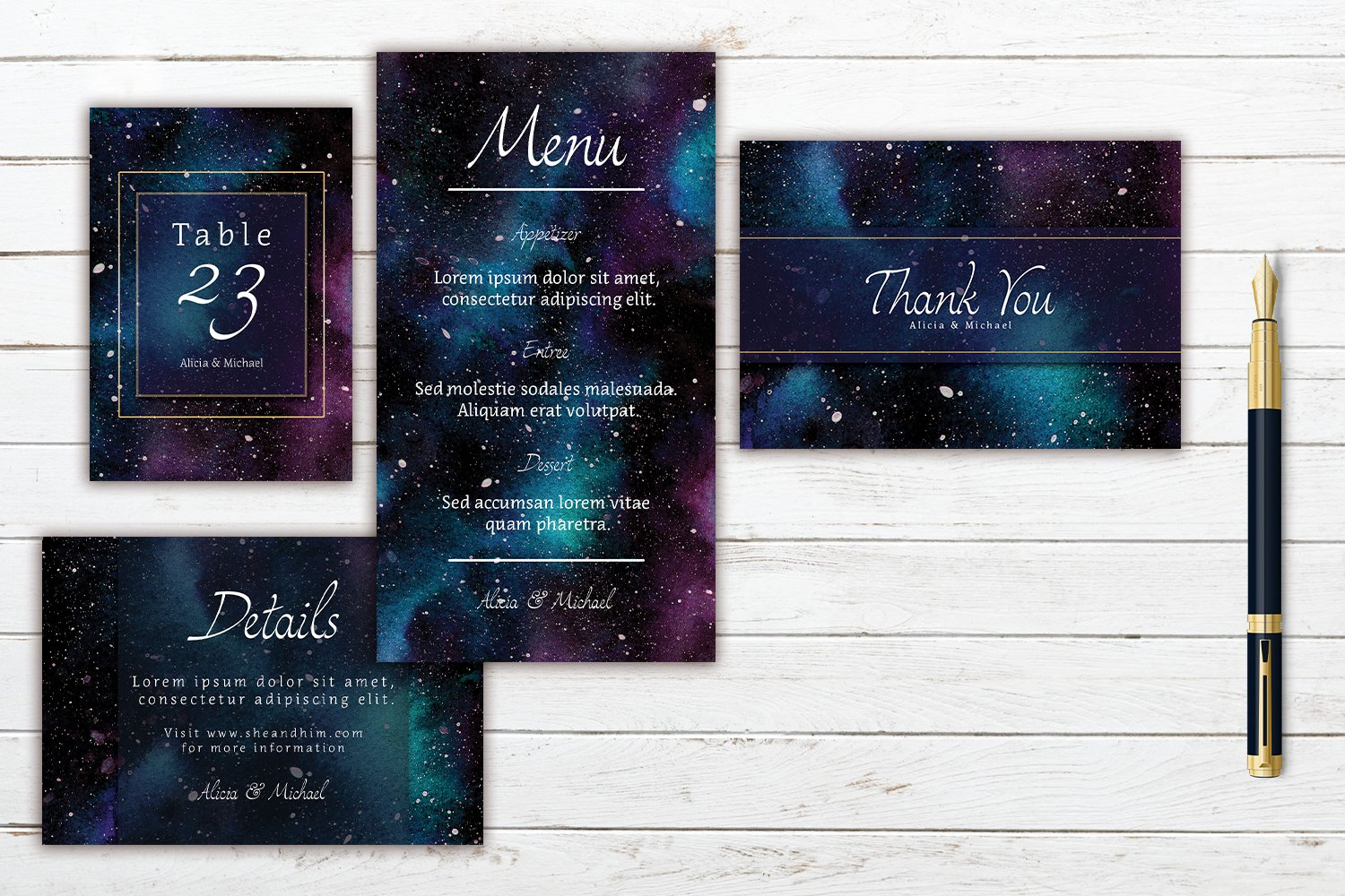 Colorful Cosmic In Space Watercolor Wedding Invitation Set example image 2