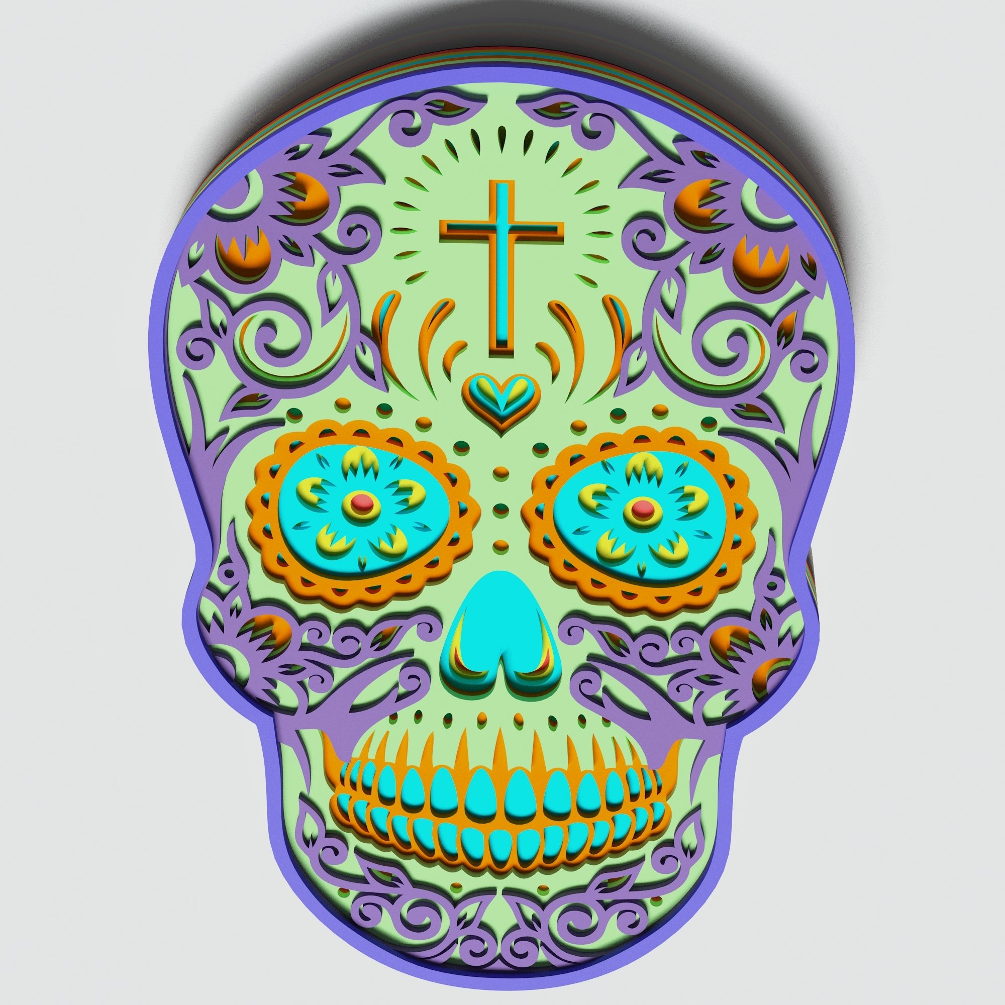 Multilayer Sugar Skull Mandala - S1, for cutting machines example image 4