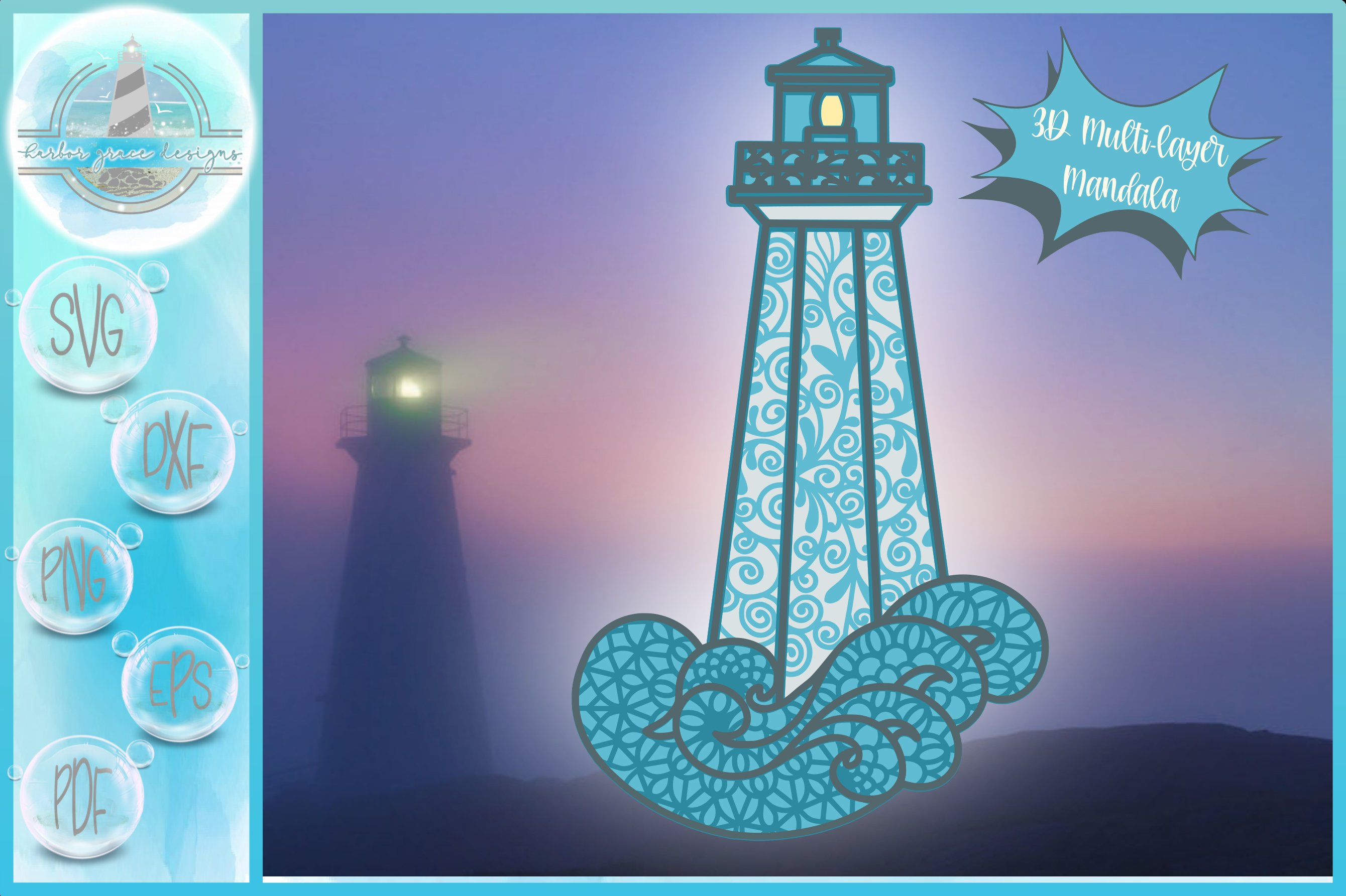 Download 3D Layered Design | 3D Lighthouse Mandala | 3D Mandala SVG ...