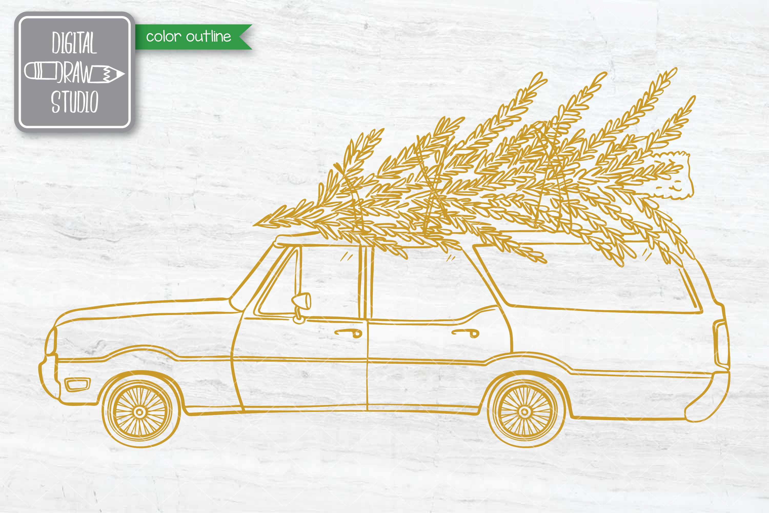 Color Station Wagon Car Christmas | Tree on Roof Top Holiday example image 6