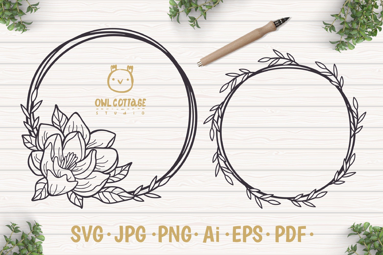 Magnolia Wreath Svg Flower Monogram Cut File Wedding Flowe 561126 Cut Files Design Bundles