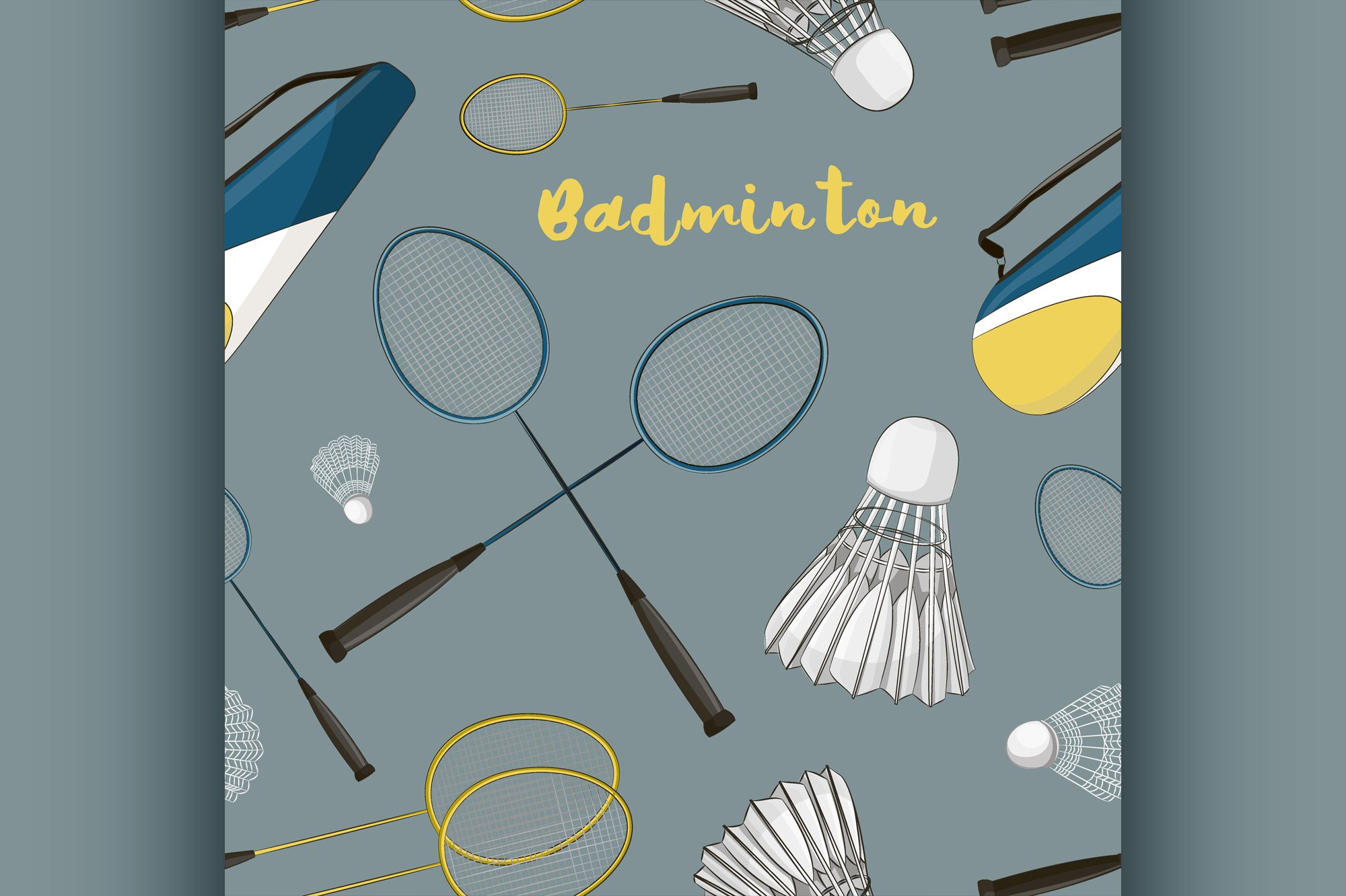 Badminton labels and icons set pattern example image 1
