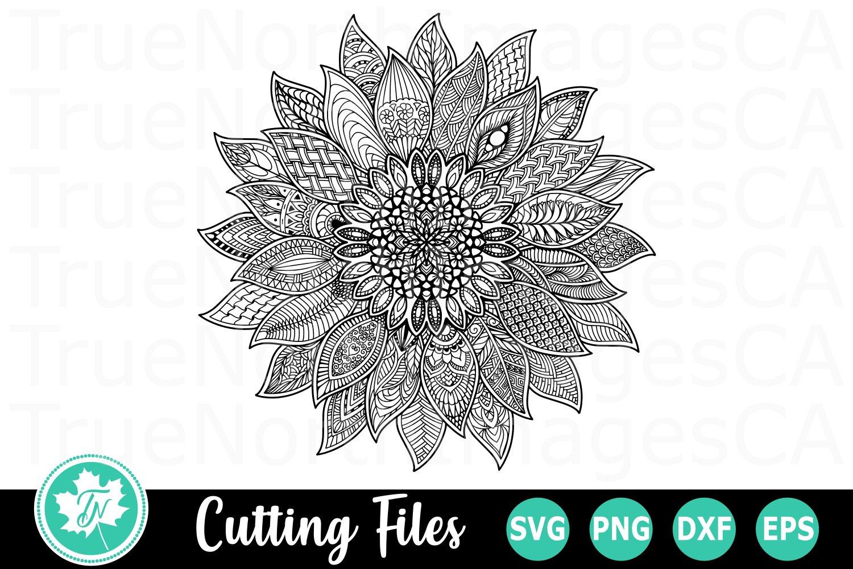 Sunflower - A Zentangle SVG Cut File (483370)   Cut Files ...