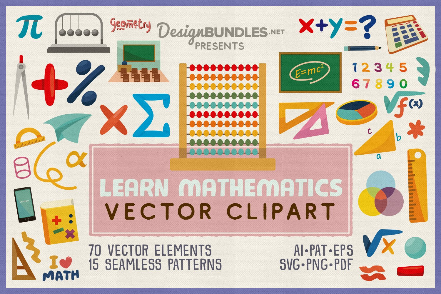 Learn Mathematics Vector Clipart and Seamless Pattern example image 1