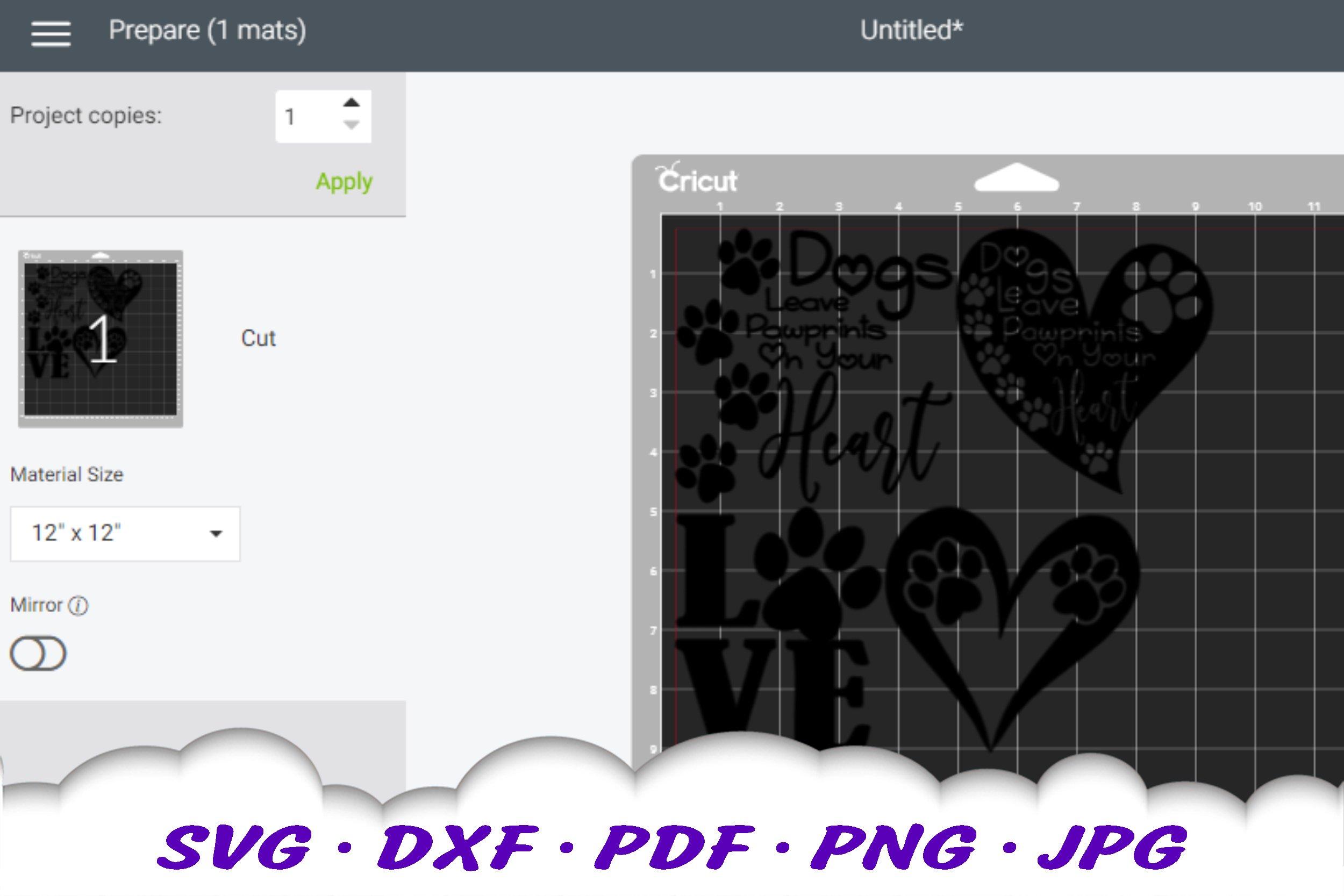 Dog Mom Paw Print Bundle SVG DXF Cut Files example image 2