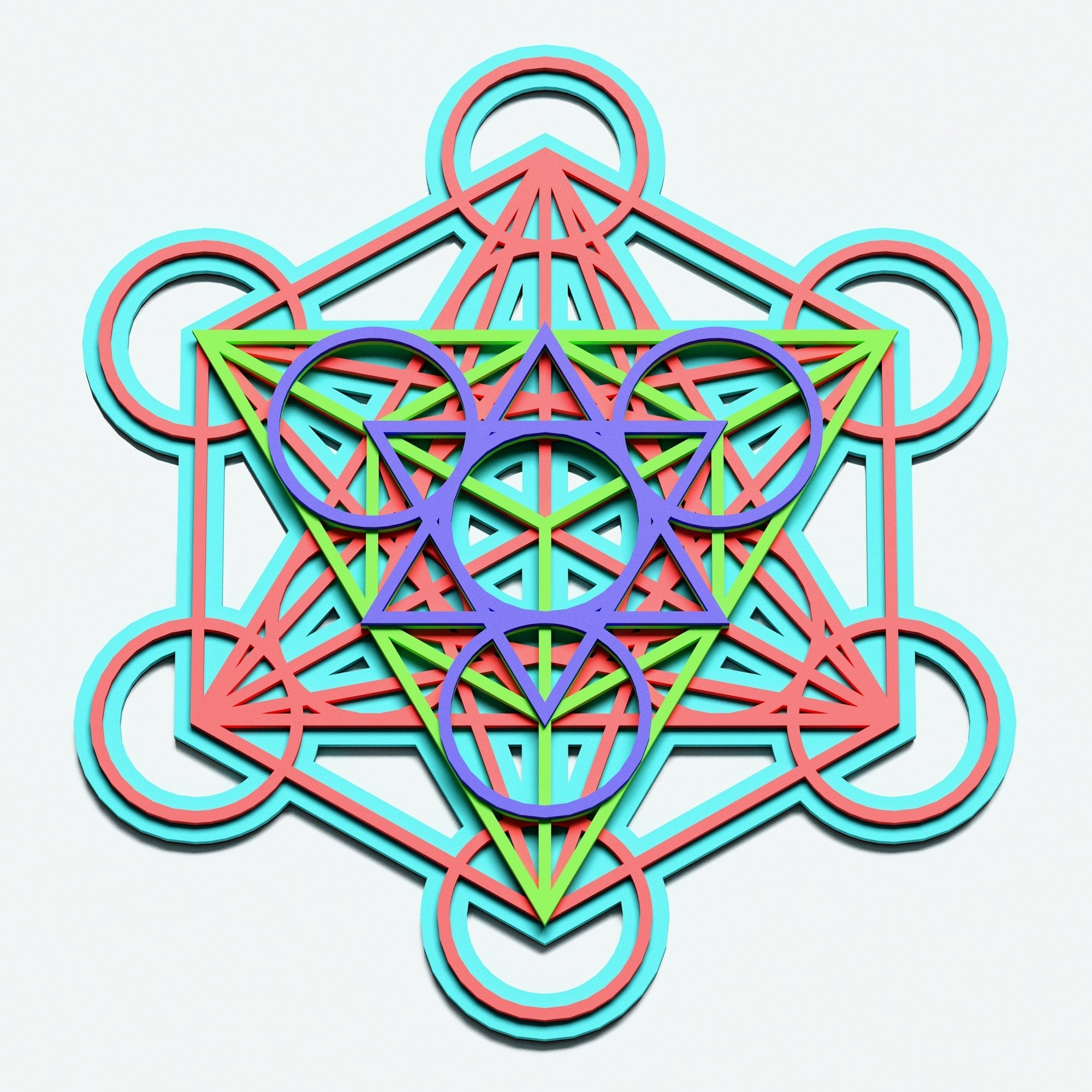 Metatron's Cube Multilayer Mandala, Vector file for cutting example image 3