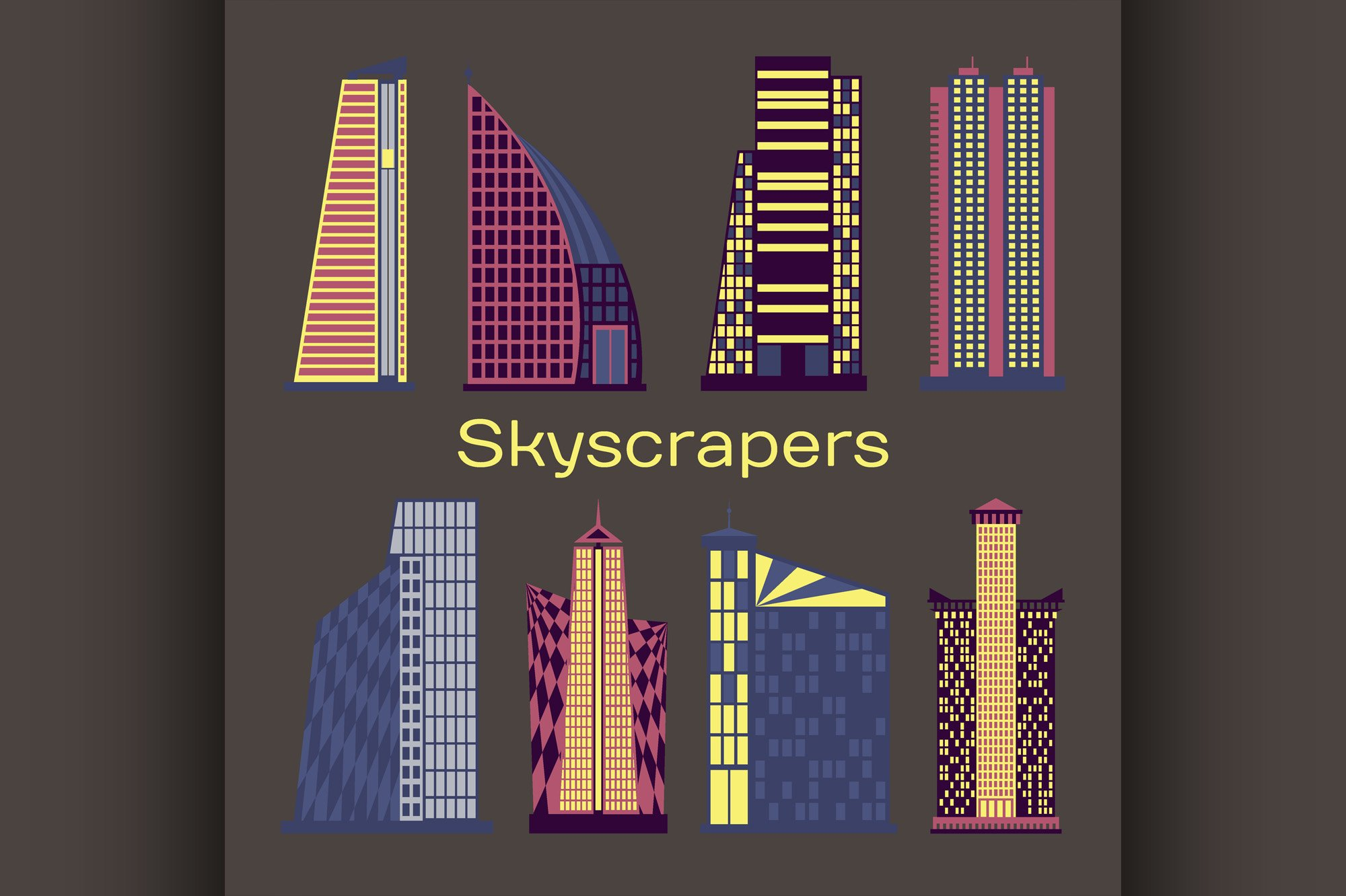 Skyscrapers icons set example image 1