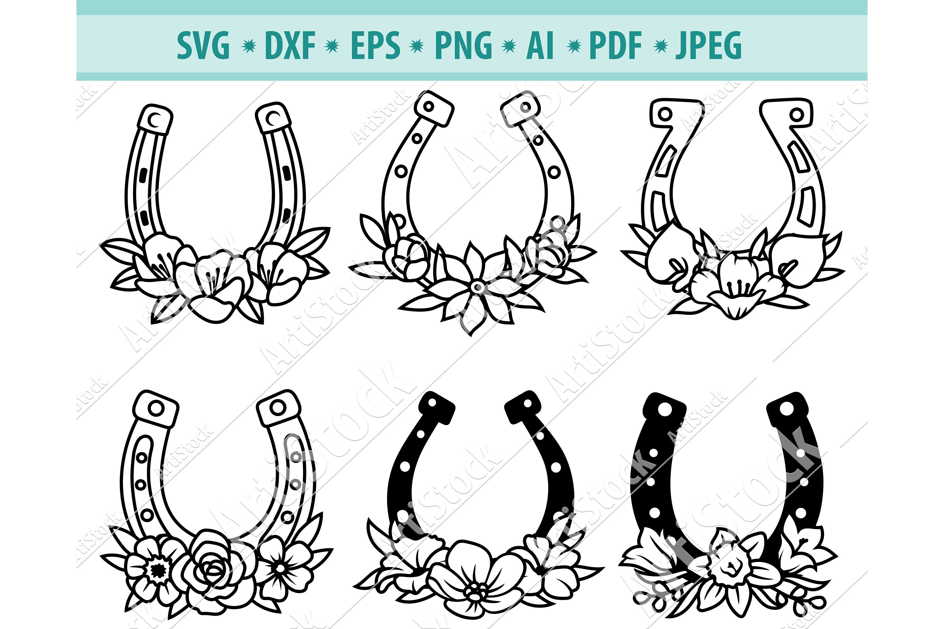 dxf Horseshoe Svg bundle lucky svg designs for st patricks day with flowers  png Horseshoe floral monogram frame svg cut files for cricut